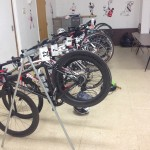 Bike storage at Aho High School. We slept in their gym!